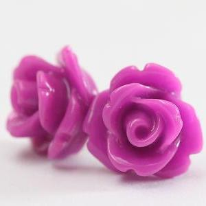 Purple Rose Ear Posts, Bridal Jewel..
