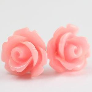 Pink Rose Ear Posts, Bridal Jewelry..