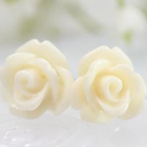 White Rose Ear Posts, Bridal Jewelr..