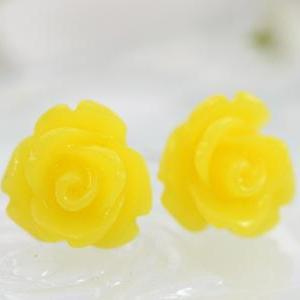 Frosted Yellow Rose Ear Posts, Brid..