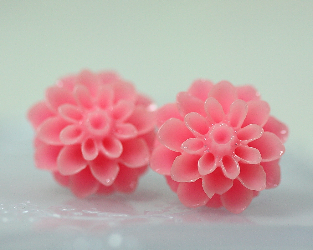 Pink Chrysanthemum Ear Posts, Bridal Jewelry, Bridesmaids Gift, Flowergirls Gift