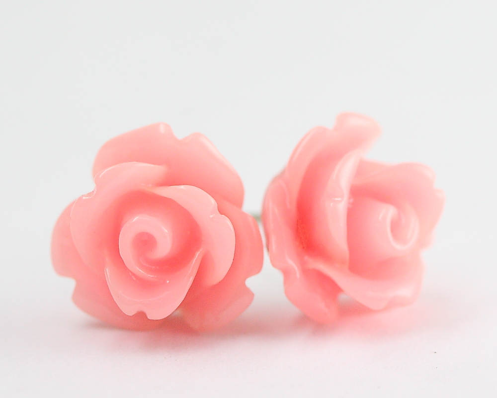 Pink Rose Ear Posts, Bridal Jewelry, Bridesmaids Gift, Flowergirls Gift