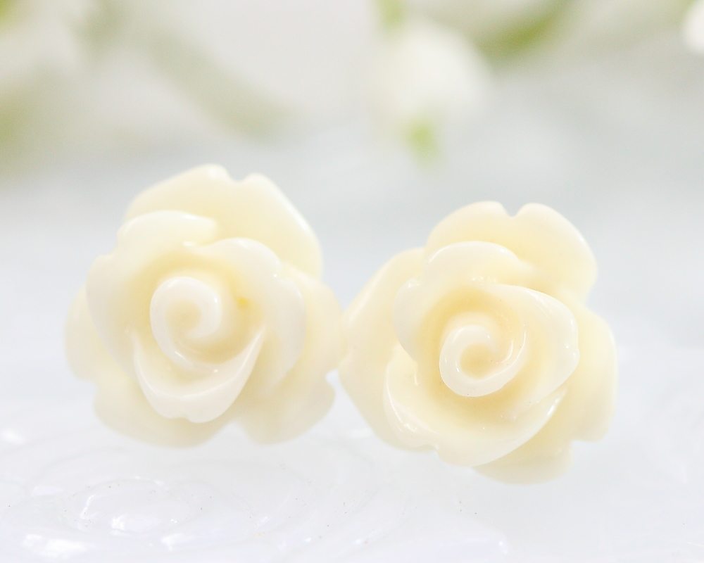 White Rose Ear Posts, Bridal Jewelry, Bridesmaids Gift, Flowergirls Gift