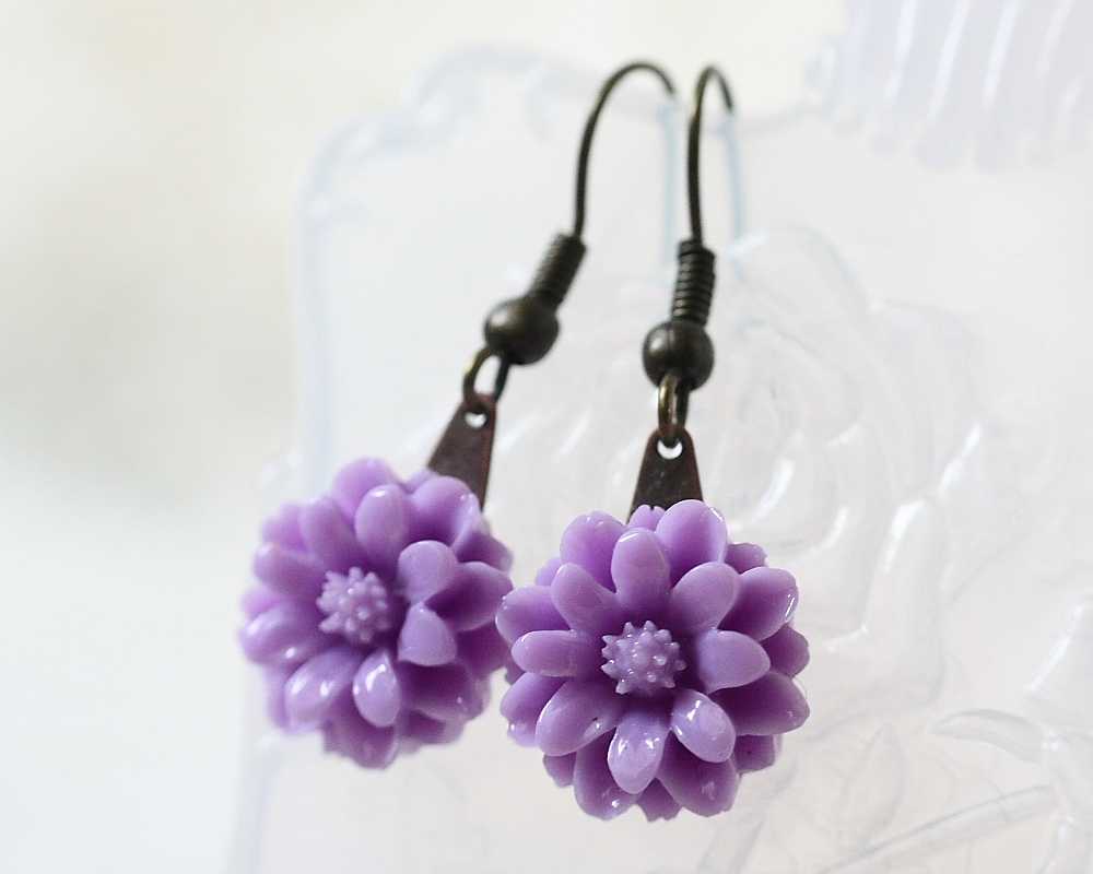 Petite Purple Chrysanthemum Earrings