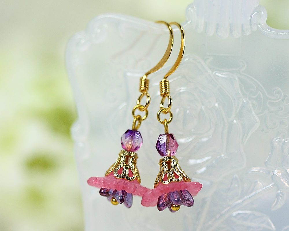 Petite Pink Lucite Flower Earrings