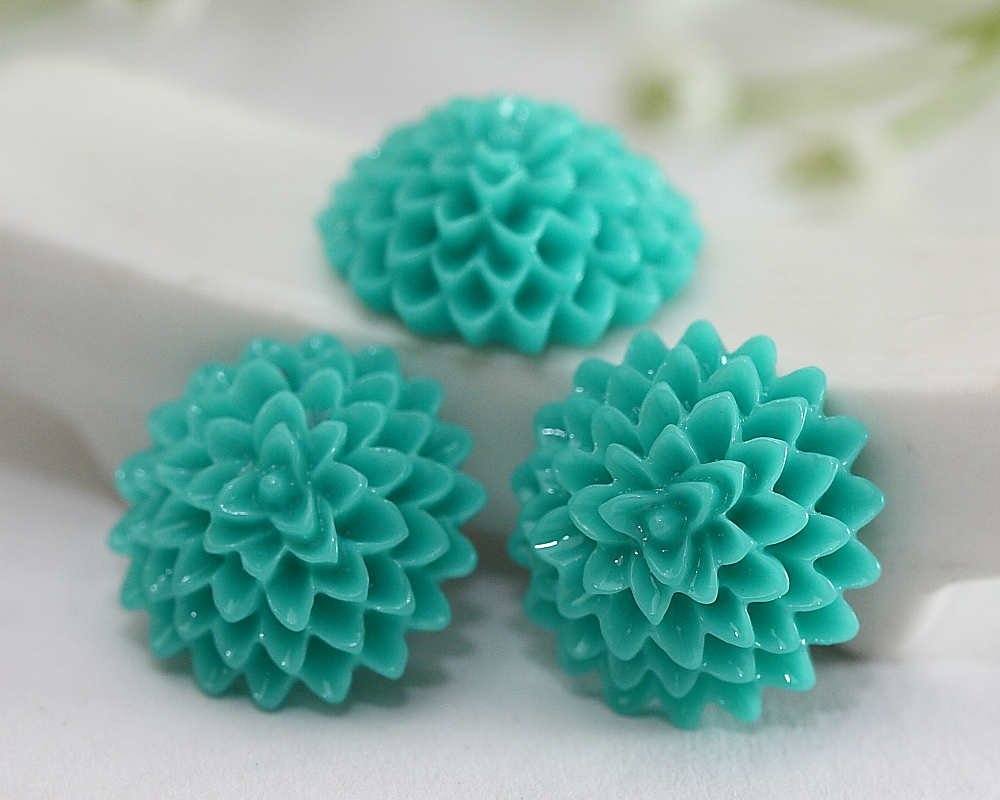 Dark Turquoise Dahlia / Mums Flower Resin Cabochons 10pc