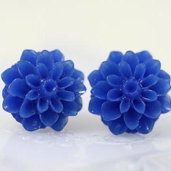 Dark Blue Chrysanthemum Ear Posts, Bridal Jewelry, Bridesmaids Gift, Flowergirls Gift