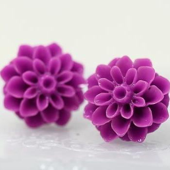 Purple Chrysanthemum Ear Posts, Bridal Jewelry, Bridesmaids Gift, Flowergirls Gift
