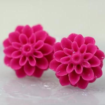 Fuchsia Chrysanthemum Ear Posts, Bridal Jewelry, Bridesmaids Gift, Flowergirls Gift