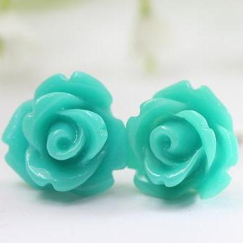 Dark Turquoise Rose Ear Posts, Bridal Jewelry, Bridesmaids Gift, Flowergirls Gift