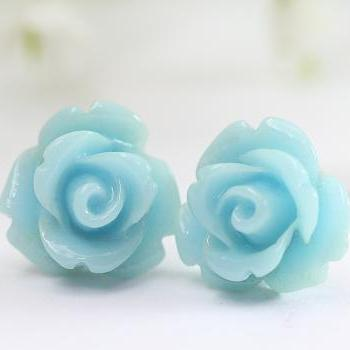 Pale Blue Rose Ear Posts, Bridal Jewelry, Bridesmaids Gift, Flowergirls Gift