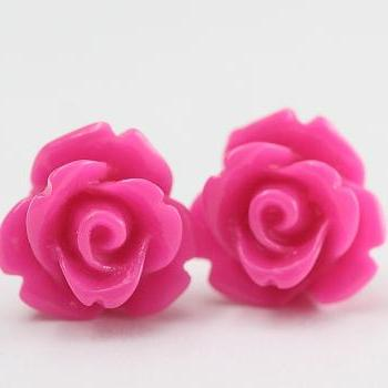 Fuchsia Rose Ear Posts, Bridal Jewelry, Bridesmaids Gift, Flowergirls Gift