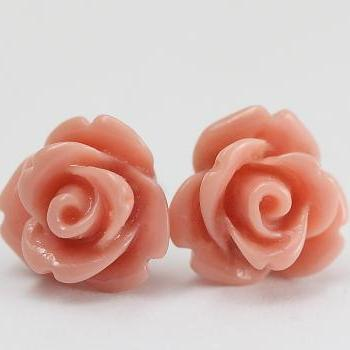 Light Coral Rose Ear Posts, Bridal Jewelry, Bridesmaids Gift, Flowergirls Gift