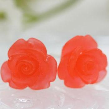 Frosted Red Rose Ear Posts, Bridal Jewelry, Bridesmaids Gift, Flowergirls Gift