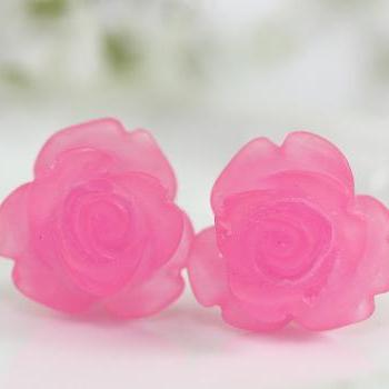 Frosted Fuchsia Rose Ear Posts, Bridal Jewelry, Bridesmaids Gift, Flowergirls Gift