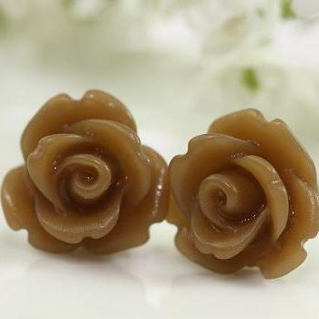 Frosted Brown Rose Ear Posts, Bridal Jewelry, Bridesmaids Gift, Flowergirls Gift