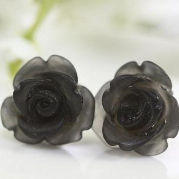 Frosted Black Rose Ear Posts, Bridal Jewelry, Bridesmaids Gift, Flowergirls Gift